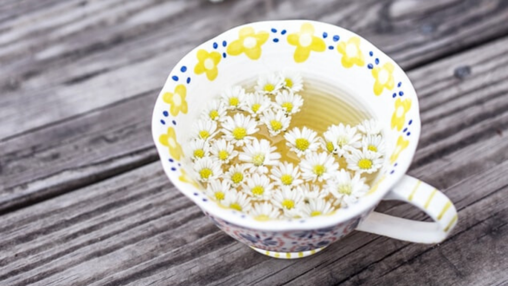camomile tea with daisys